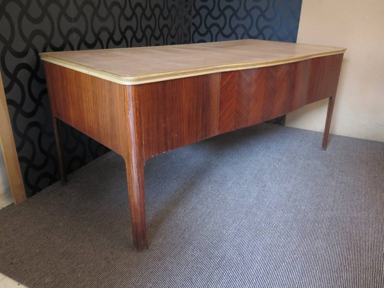 Mid-20th Century Midcentury Walnut Leather Writing Desk, 1950 For Sale