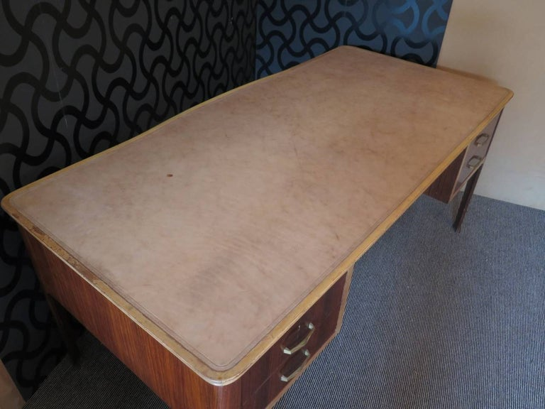 Midcentury Walnut Leather Writing Desk, 1950 For Sale 1