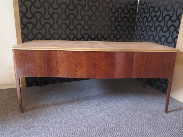 Midcentury Walnut Leather Writing Desk, 1950 For Sale 2
