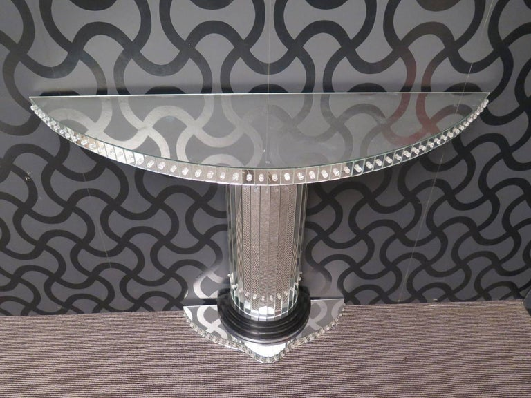 Pair of Murano Demilune Mirror Art Deco Consoles, 1940 In Excellent Condition For Sale In Rome, IT