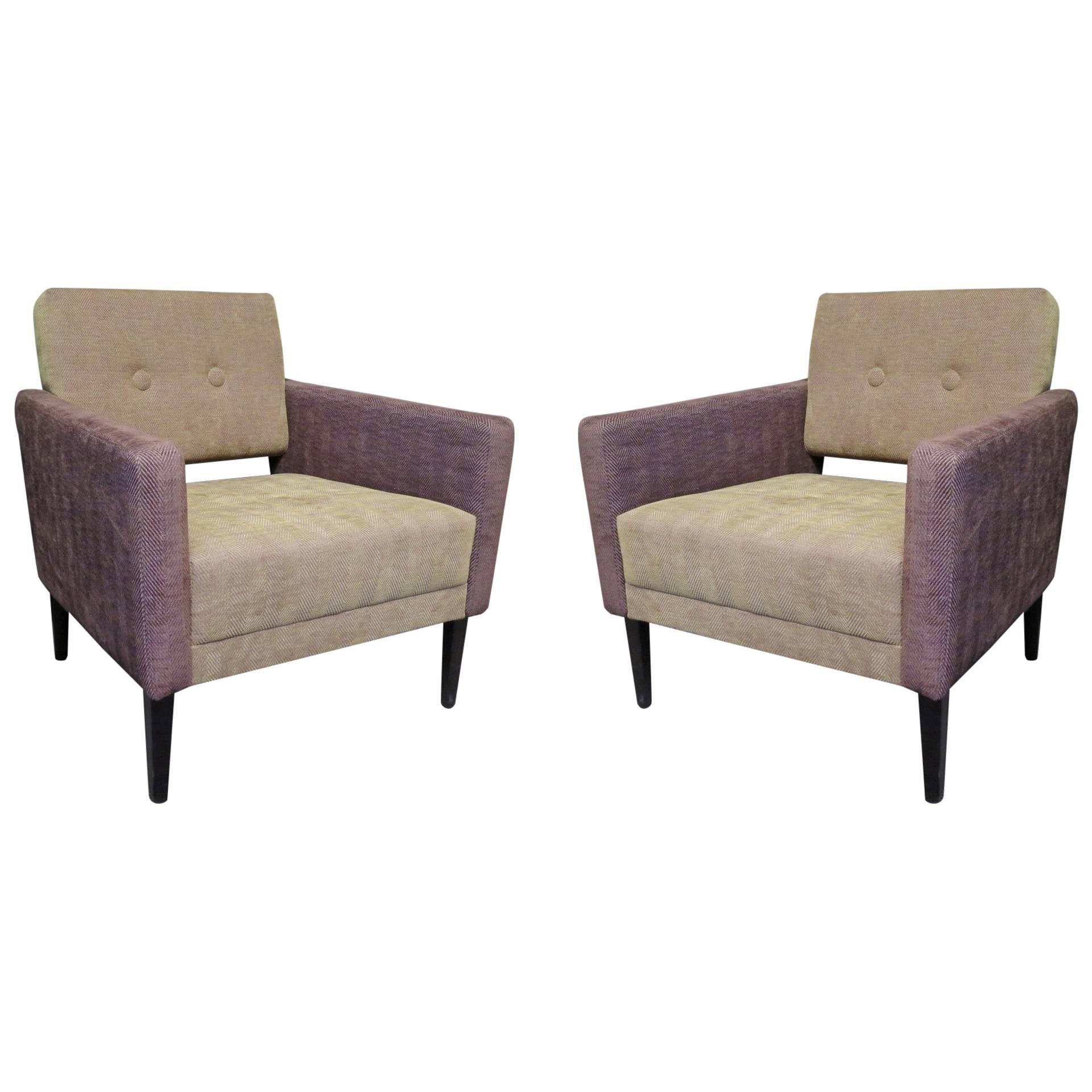 Pair of Midcentury Green and Purple Velvet Armchairs, 1950