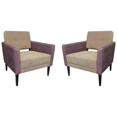 Pair of Midcentury Green and Purple Velvet Armchairs, 1950