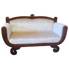 Biedermeier Walnut and Velvet Cream Color Austrian Sofa, 1820
