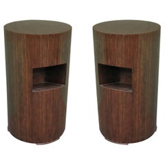 Pair of Art Deco Round Magazine Holder Italian Side Tables, 1940