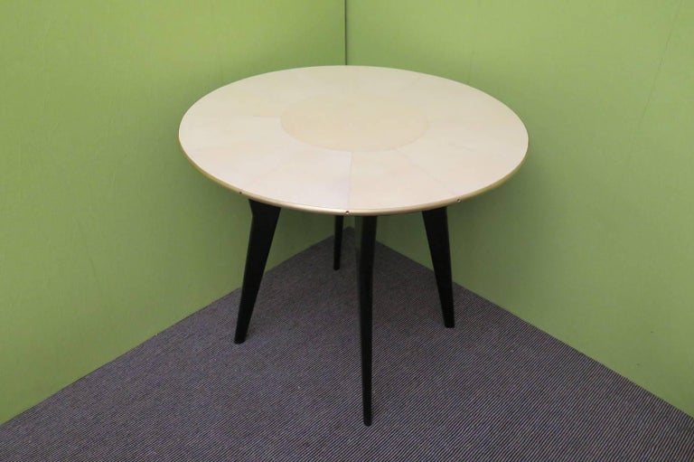 Art Deco Round Goatskin Card and Tea Table, 1940 For Sale 1