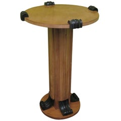 Art Deco Round Maple Wood Italian Side Table, 1940