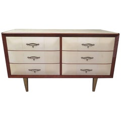 Art Deco Walnut Wood GoatSkin and Brass Italian Chest of Drawers, 1940