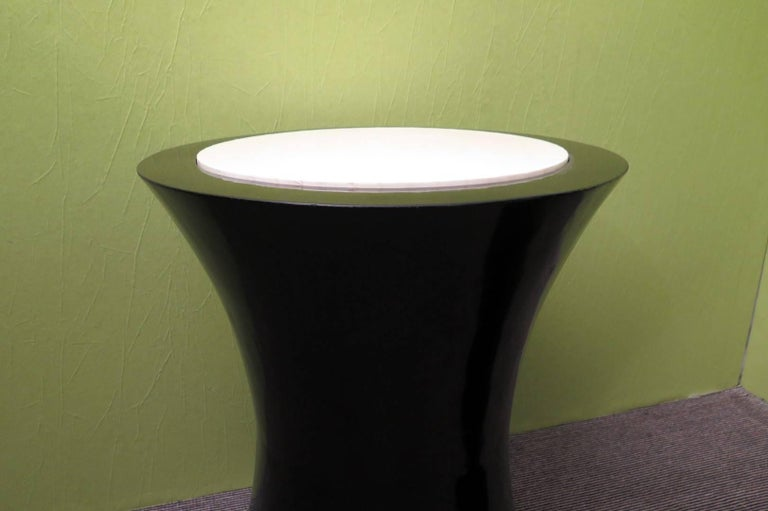 Goatskin Pair of Round Black Italian Art Deco Side Tables, 1940 For Sale