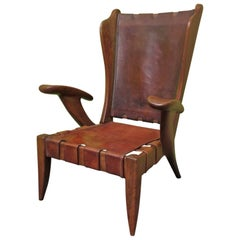 Carlo Mollino Wood and Brown Leather Italian Midcentury Armchair, 1950