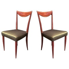 Pair of Mahogany and Green Silk Italian Chairs, 1950