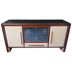 Art Deco Walnut Wood Glass and Goatskin Italian Sideboard/Bar, 1940