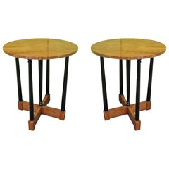 Pair of Midcentury Ash Wood Austrian Side Tables, 1940