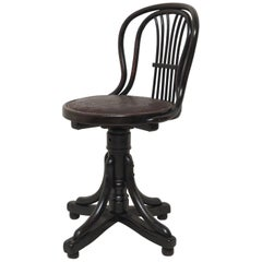 Thonet Black Austrian Swivel Art Nouveau Chair, 1890