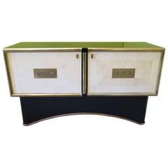 Art Deco Rectangular Goatskin and Brass Italian Sideboard, 1930