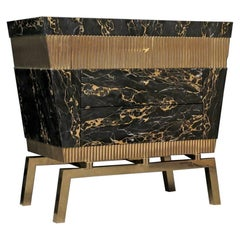 Portoro Marble and Brass Chest of Drawers, 2010