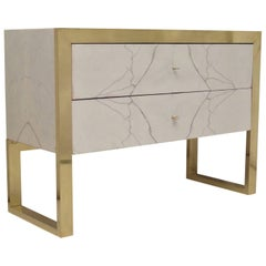 "Brass and White ""Statuario"" Marble Chests of Drawers, 2010"