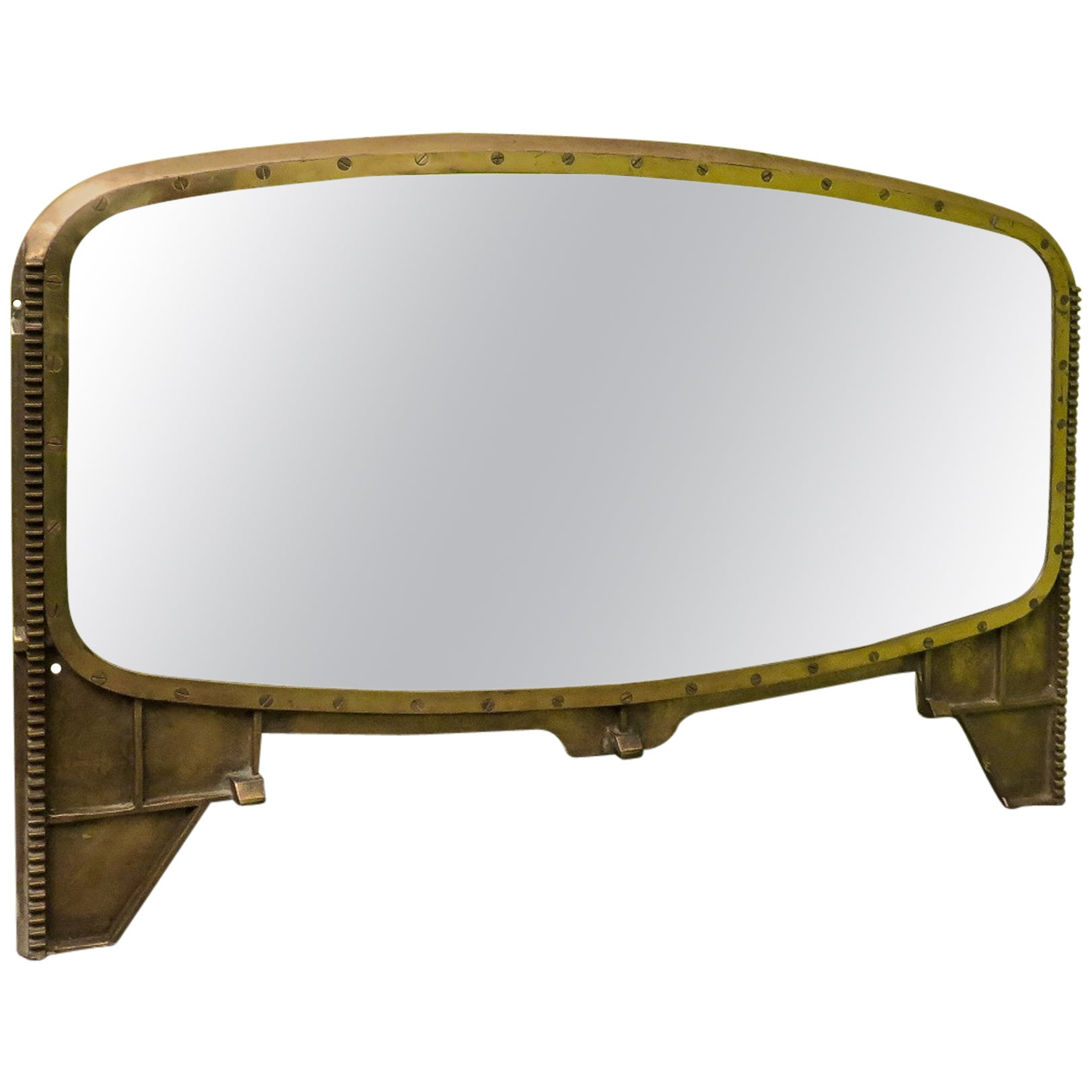 Art Deco Oval Brass Italian Mirror, 1930