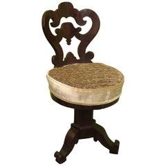 Charles X Walnut Wood and Velvet Italian Swivel Chair Piano, 1830