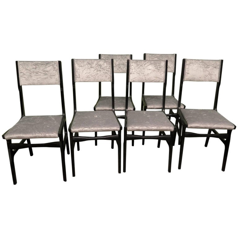 Set of Six Carlo de Carli Attributed Italian Midcentury Chairs, 1955 For Sale