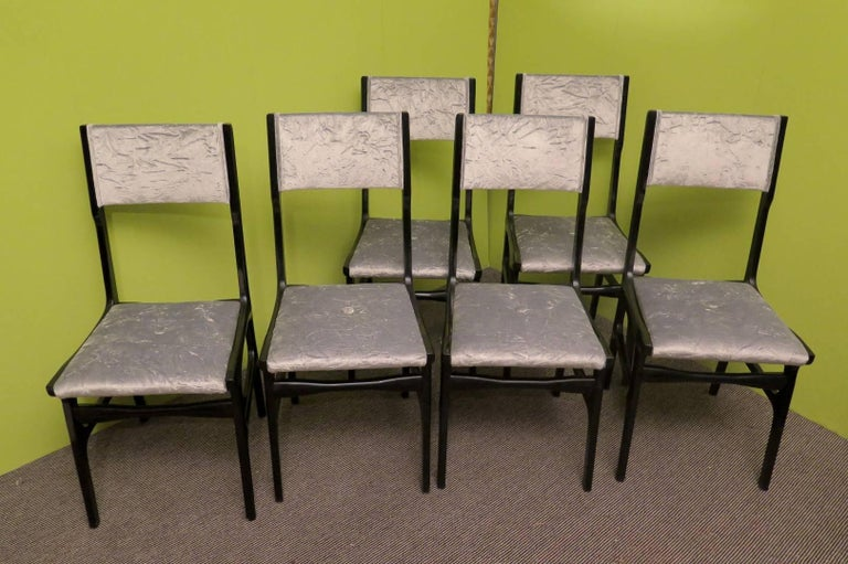 Mid-20th Century  Set of Six Carlo de Carli Attributed Italian Midcentury Chairs, 1955 For Sale