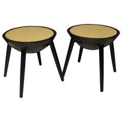 Pair of Round Black and Goat Skin Italian Art Deco Side Table, 1940