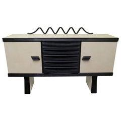 Pier Luigi Colli Midcentury Goatskin Black Shellac Sideboards, 1950