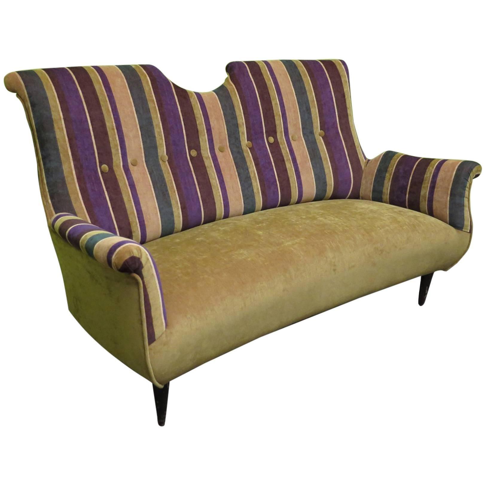 Midcentury with Velvet Bicolored Italian Sofa, 1950