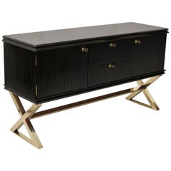 Midcentury Black Shellac and Brass Italian Sideboard, 1950