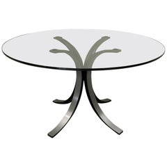 Borsani-Gerli by Tekno Round Glass and Metal Table, 1960