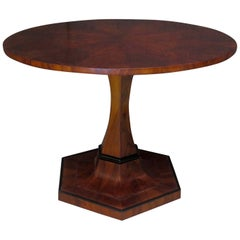 Biedermeier Round Walnut Wood Austrian Folding Table, 1920