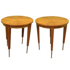 Pair of Art Deco Round French Side Tables, 1920