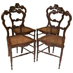 4 Louis Philippe Walnut and Vienna Straw Italian Chairs, 1940