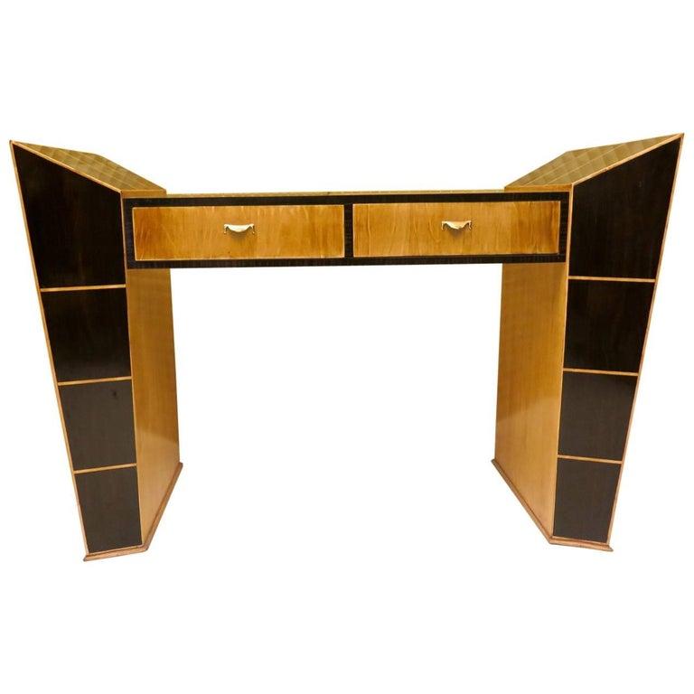 Midcentury Ebony and Maple Italian Desks, 1950 For Sale