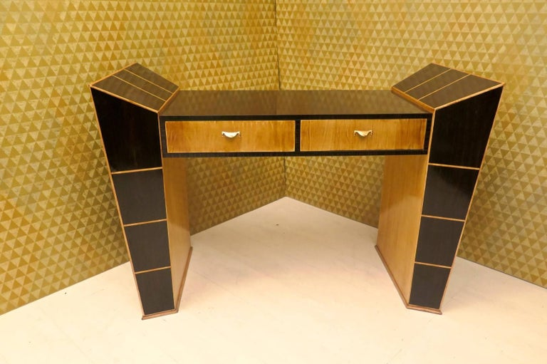 Mid-Century Modern Midcentury Ebony and Maple Italian Desks, 1950 For Sale