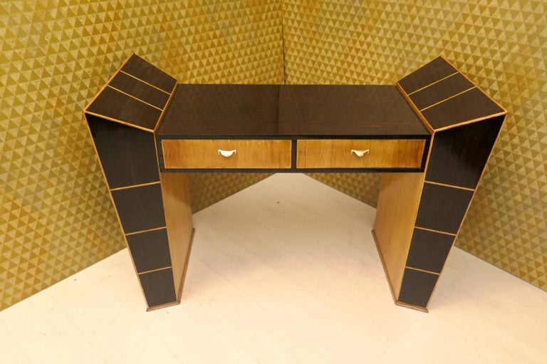 Midcentury Ebony and Maple Italian Desks, 1950 In Excellent Condition For Sale In Rome, IT