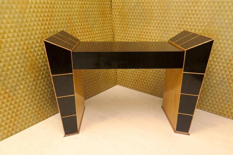 Midcentury Ebony and Maple Italian Desks, 1950 For Sale 1