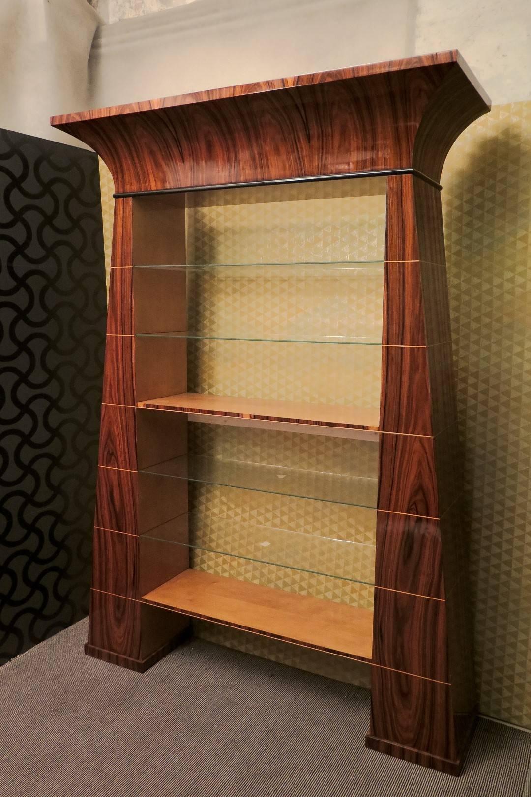 Art Deco Style Walnut And Maple Wood Italian Bookcase