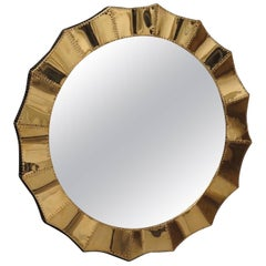 Mid Century Wood Covered with Brass Italian Wall Mirror, 2010
