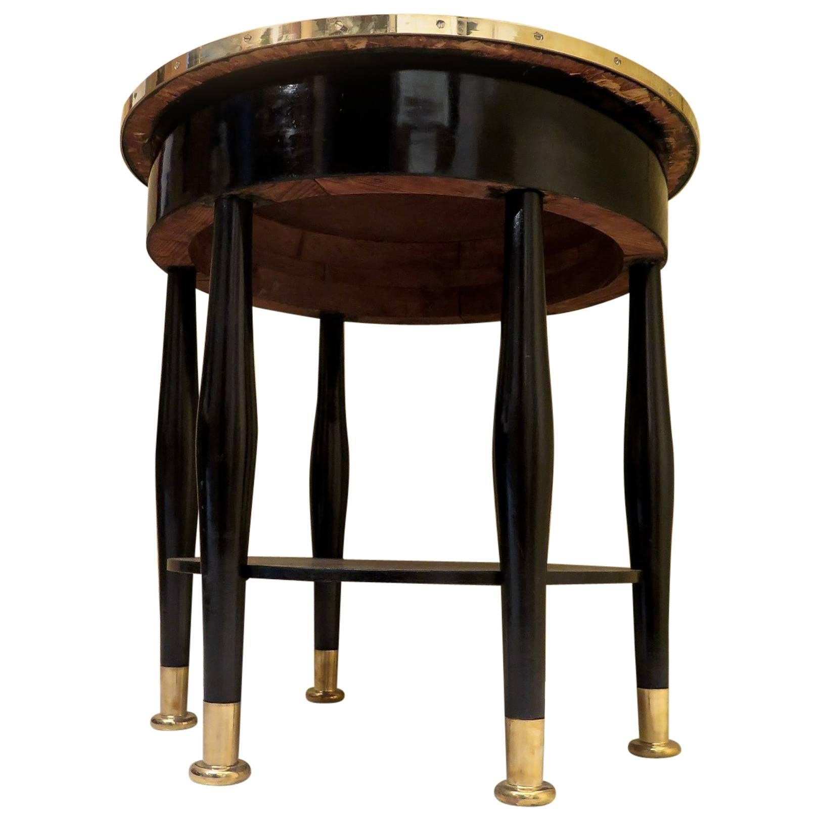 Adolf Loos Round Black Shellac and Brass Austrian Art Nouveau Side Table, 1910