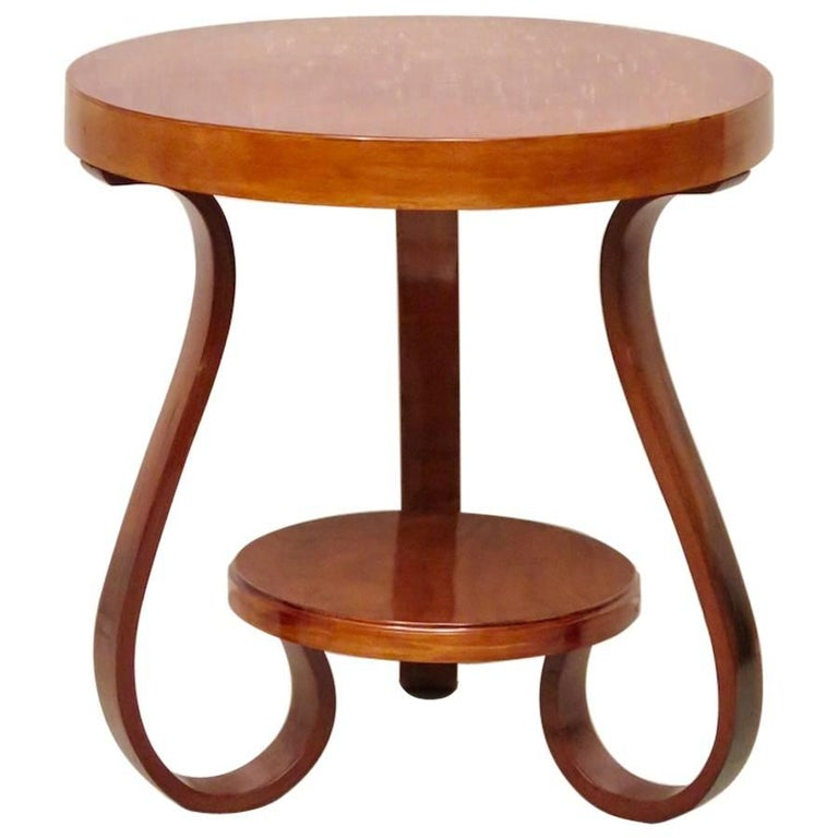 Art Deco Round Cherrywood Italian Side Table, 1930 For Sale