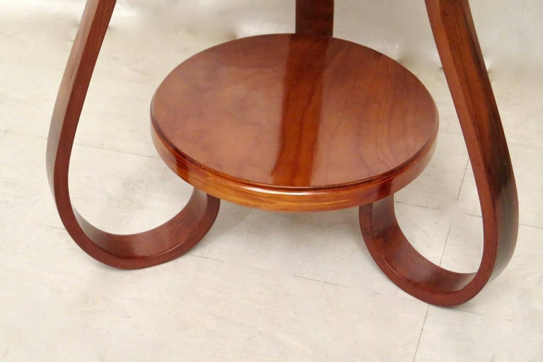 Mid-20th Century Art Deco Round Cherrywood Italian Side Table, 1930 For Sale