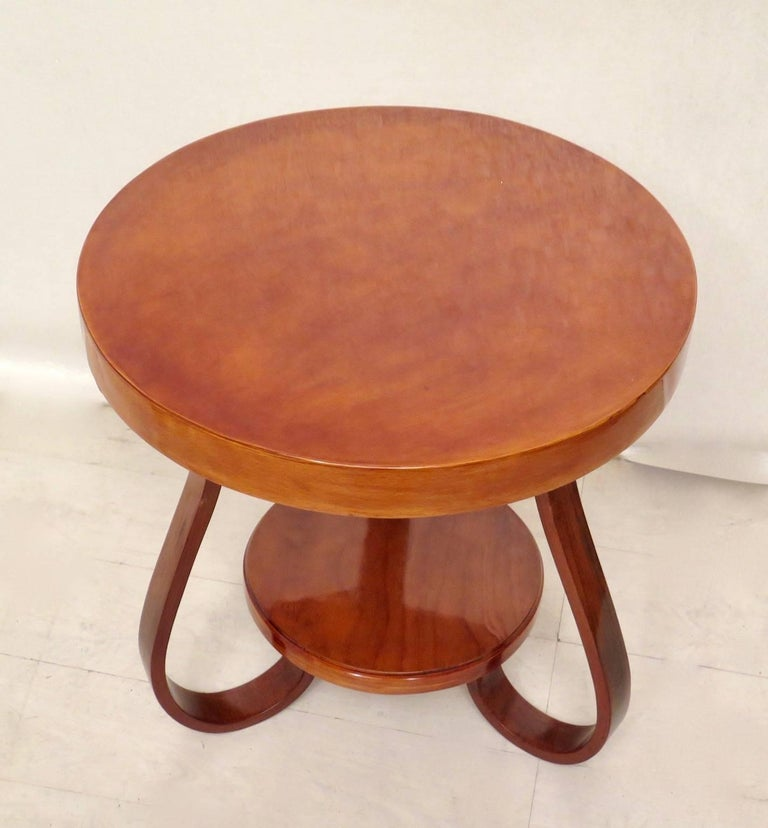 Art Deco Round Cherrywood Italian Side Table, 1930 For Sale 2