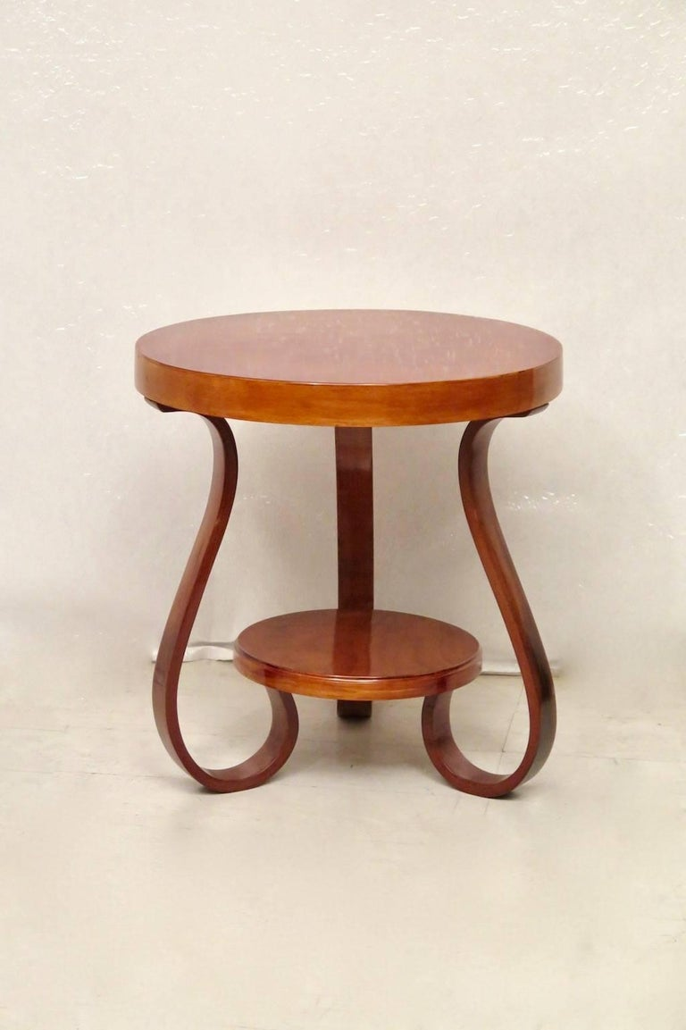 Art Deco Round Cherrywood Italian Side Table, 1930 For Sale 4