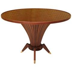 Mitte des Jahrhunderts Walnuss Holz und Messing italienische Center Tisch, 1950