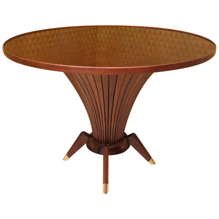 Midcentury Walnut Wood and Brass Italian Center Table, 1950 For Sale