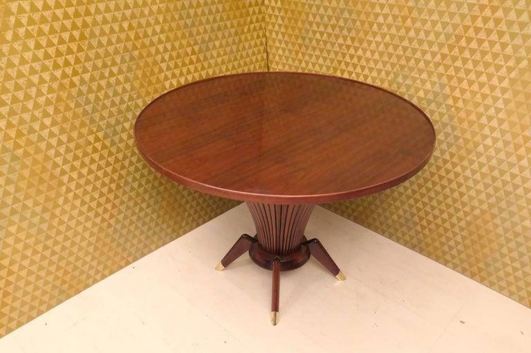 Mid-Century Modern Midcentury Walnut Wood and Brass Italian Center Table, 1950 For Sale
