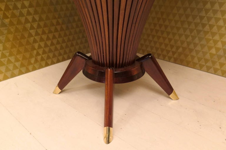 Mid-20th Century Midcentury Walnut Wood and Brass Italian Center Table, 1950 For Sale