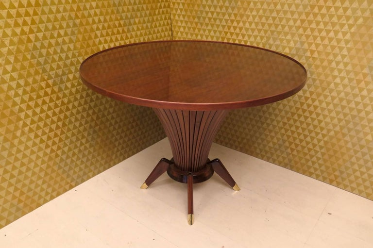 Midcentury Walnut Wood and Brass Italian Center Table, 1950 For Sale 2