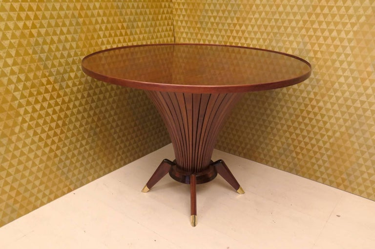 Midcentury Walnut Wood and Brass Italian Center Table, 1950 For Sale 3