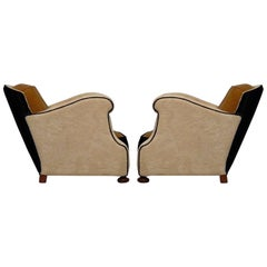 Pair of Art Deco Leather and Black and White Velvet Italian Club Chairs, 1930